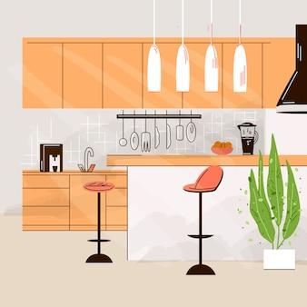 Ilustración plana del interior de la cocina moderna habitación vacía de la casa no people con muebles de cocina, mesa, sillas y mesa de cocina.