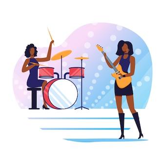 Ilustración plana de intérpretes de música rock