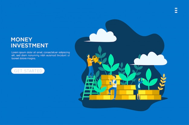 Ilustración plana de inversión de dinero