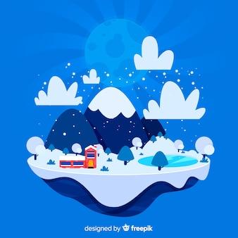 Ilustración plana isla invierno