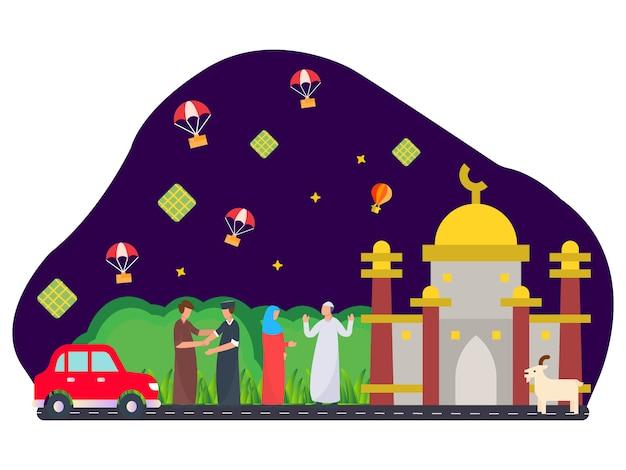 Ilustración plana islámica