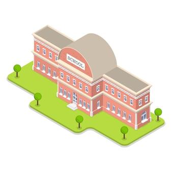 Ilustración plana isométrica 3d del edificio de la escuela.