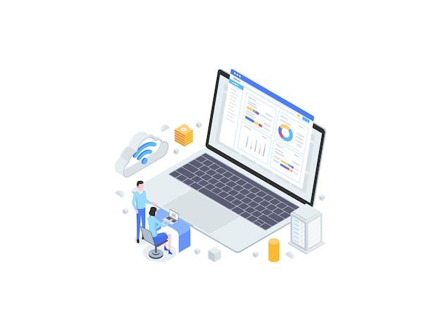 Ilustración plana isométrica de impuestos en línea. adecuado para aplicaciones móviles, sitios web, banners, diagramas, infografías y otros activos gráficos.