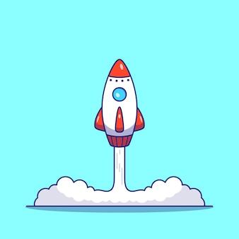 Ilustración plana de lanzamiento de cohetes aislado