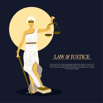 Ilustración plana de ley y justicia