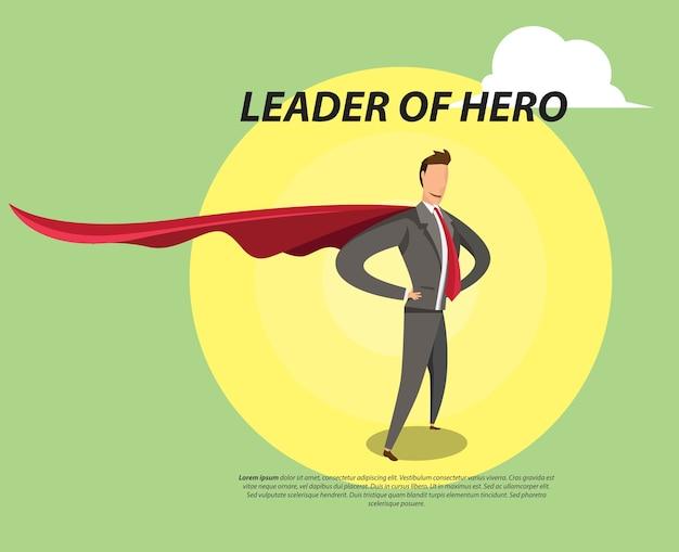 Ilustración plana de líder héroe