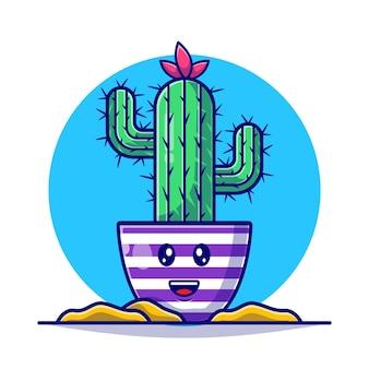 Ilustración plana linda planta de cactus
