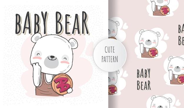Ilustración plana lindo bebé oso con baloncesto