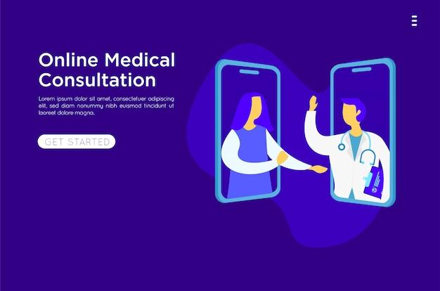 Ilustración plana en línea médica móvil