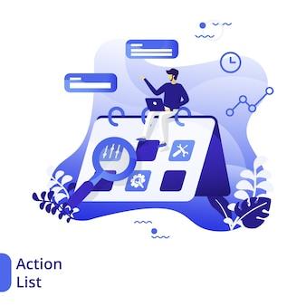 Ilustración plana de la lista de acciones, el concepto de hombres haciendo horarios en computadoras portátiles