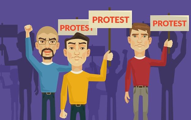 Ilustración plana de manifestación y protesta.
