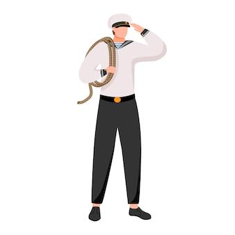 Ilustración plana marinero. marinero en uniforme de trabajo. academia marítima. ocupación marina. marinero con cuerda personaje de dibujos animados aislado sobre fondo blanco.