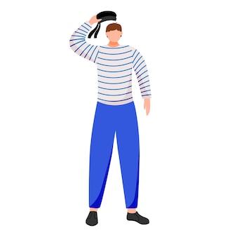 Ilustración plana marinero. marinero en uniforme de trabajo. club de yate. ocupación marítima. contramaestre saluda a personaje de dibujos animados aislado sobre fondo blanco.