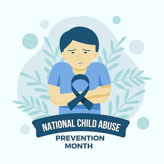 Ilustración plana del mes nacional de prevención del abuso infantil