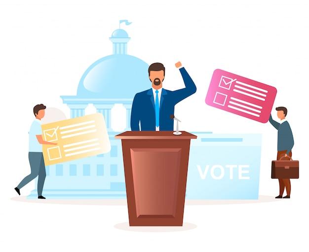 Ilustración plana de la metáfora del sistema político. campaña electoral. elegir presidente, parlamento. enfrentamiento entre fiestas. acto de democracia. votando por nuevos personajes de dibujos animados de líderes