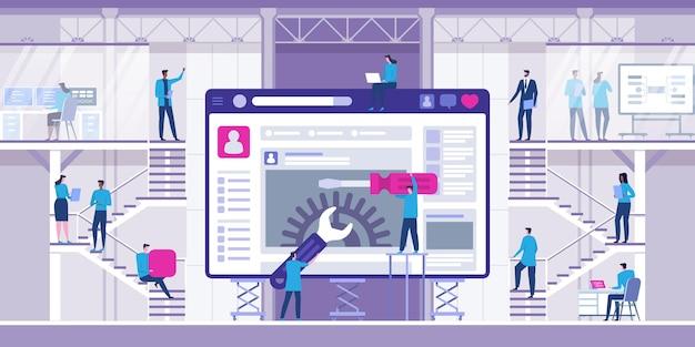 Ilustración plana moderna de desarrollo web para sitio web.