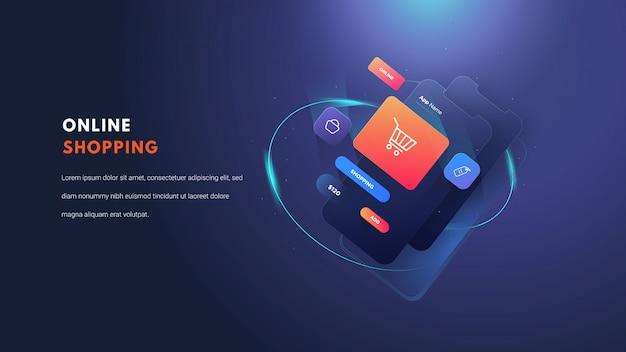 Ilustración plana móvil de compras en línea