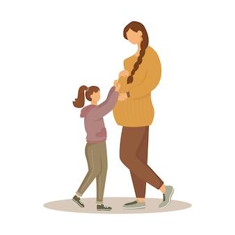Ilustración plana de mujer embarazada y su hija. preparación de maternidad. feliz espera de bebé. niña acariciando a las madres embarazadas panza personajes de dibujos animados aislados sobre fondo blanco