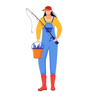 Ilustración plana de mujer pescadora. deporte, ocio activo. fisher con caña de pescar y cubo personaje de dibujos animados aislado sobre fondo blanco.