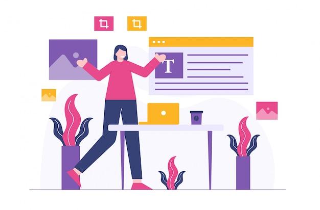 Ilustración plana de mujeres de negocios