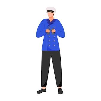 Ilustración plana del navegador. marinero en investigación o flota de pasajeros. capitán con uniforme de trabajo. marinero con binoculares personaje de dibujos animados aislado sobre fondo blanco.