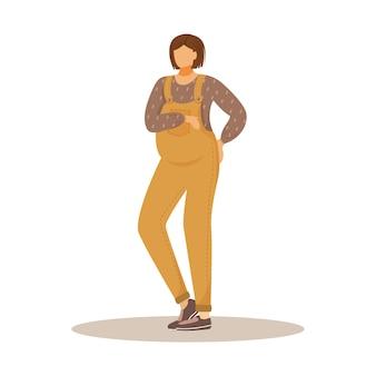 Ilustración plana de la niña embarazada. esperando bebé. expectativa de maternidad. mujer caucásica morena de pie acariciando su personaje de dibujos animados de vientre sobre fondo blanco.