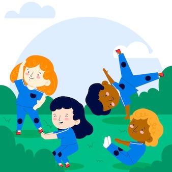 Ilustración plana de niños en clase de educación física.