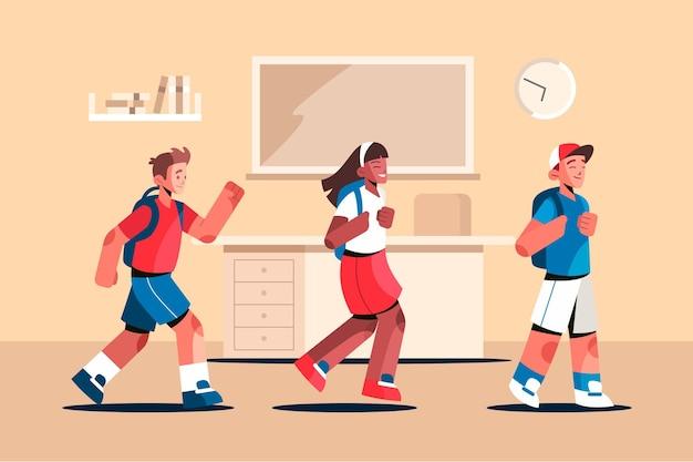 Ilustración plana de niños de regreso a la escuela