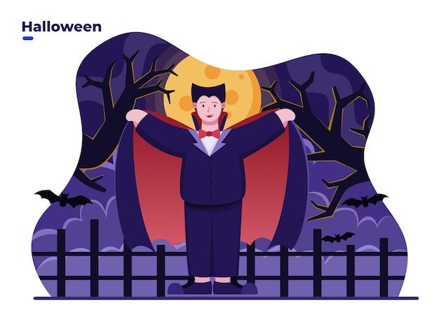 Ilustración plana niños vestidos con disfraz de drácula o vampiro para celebrar el día de halloween