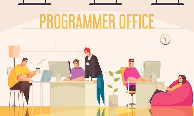 Ilustración plana de la oficina del programador