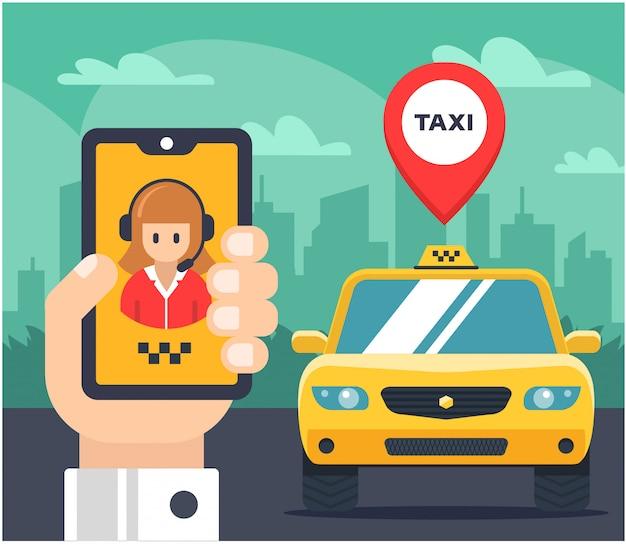 Ilustración plana de una orden de taxi. coche etiquetado la mano sostiene el teléfono y habla con el operador del taxi.