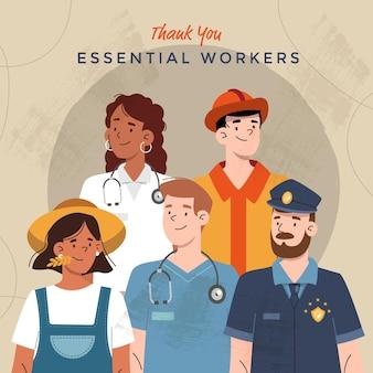 Ilustración plana orgánica gracias trabajadores esenciales