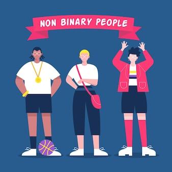 Ilustración plana orgánica personas no binarias.