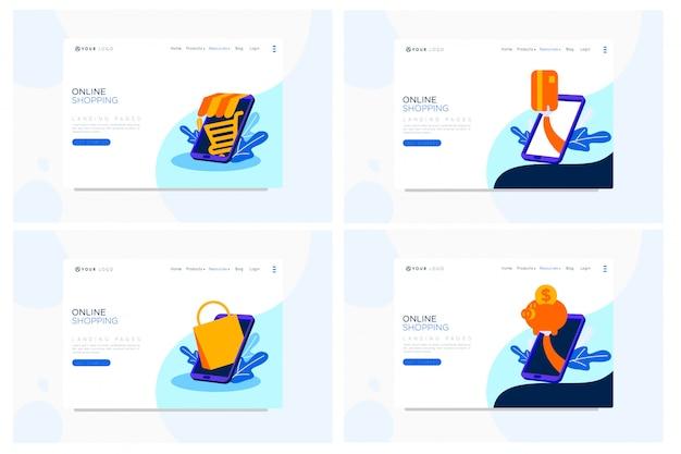 Ilustración plana de página de aterrizaje de compras en línea