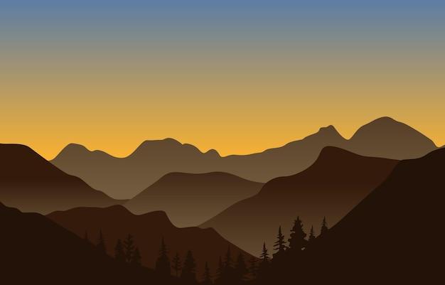 Ilustración plana del paisaje hermoso del panorama de la montaña del bosque de pinos