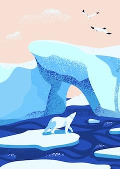 Ilustración plana del paisaje de hielo ártico.