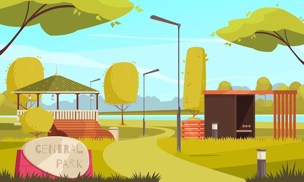 Ilustración plana del paisaje del parque de la ciudad vacía de verano