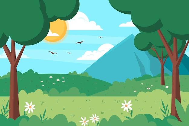 Ilustración plana del paisaje