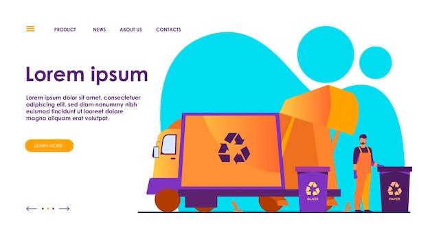 Ilustración plana de la papelera de limpieza del recolector de basura.