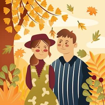 Ilustración plana pareja feliz con tema floral otoñal