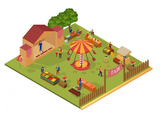 Ilustración plana del parque de atracciones y la feria isométrica.