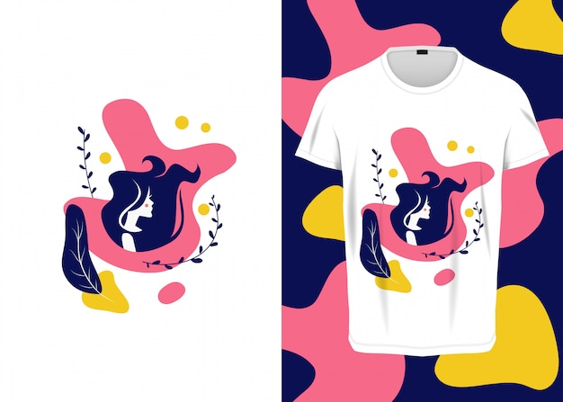Ilustración plana de pelo largo de mujer para camiseta