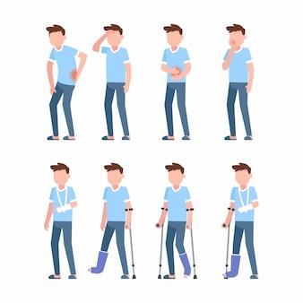 Ilustración plana de personaje de dolor