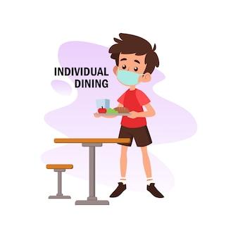 Ilustración plana del personaje haciendo comidas individuales para la prevención del virus corona