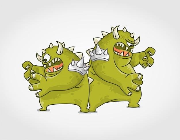 Ilustración plana de personaje de monstruo