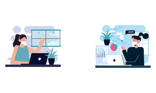 Ilustración plana del personaje que trabaja en la computadora en casa para la prevención del virus corona