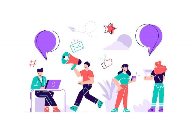 Ilustración plana de los personajes. la gente de melenkie deja comentarios en línea sobre productos comprados a través de internet. ilustración de diseño gráfico para tienda online. buenas calificaciones de cinco estrellas