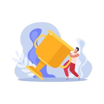 Ilustración plana de personas ganadoras con personaje y gran trofeo