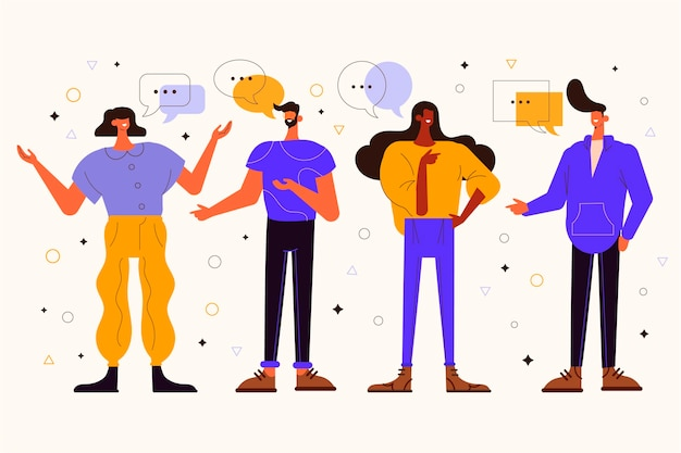 Ilustración plana personas hablando