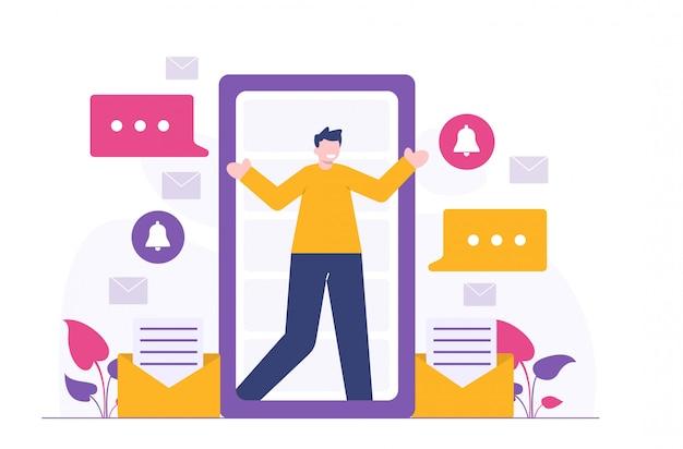 Ilustración plana personas y medios sosial